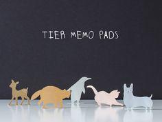 Haftnotizen in Form von Tieren /  Memo Pad Set, cute animals, post its by maplepaper via DaWanda.com