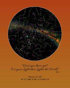 Custom Star Chart Burning Sky Orange Actual Night You Were Born Birthday Map Gift For Best Friend Milky Way Art 87