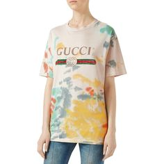 Gucci Print Cotton T-Shirt featuring polyvore women's fashion clothing tops t-shirts multi cotton tees multi color t shirts tye dye t shirts print tees print t shirts