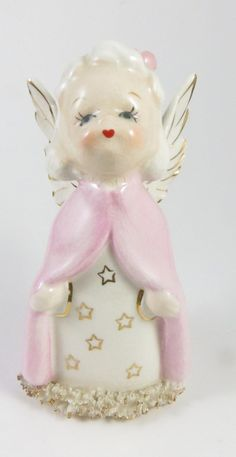 Vintage Angel in Pink Robe Porcelain Figurine A Fine Quality Japan Spaghetti