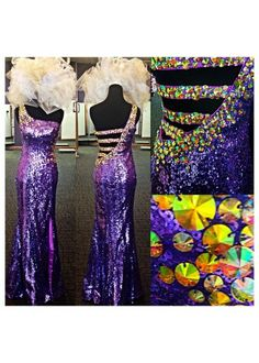 One Shoulder Shinning Mermaid Purple Prom Dresses
