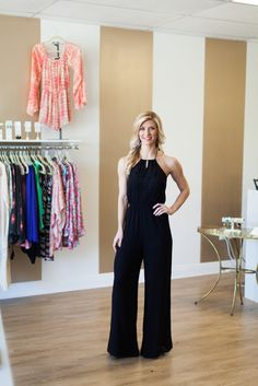 Put a twist on the classic LBD and try this Little Black Jumpsuit!  The Becca Jumpsuit has an elastic waistband, crochet detailing on the chest, and ties at the neck.