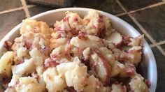 Hot German Potato Salad III Recipe - so good!!! Used 4 slices thick cut bacon and 9 med sized red potatoes. Boiled for 30 mins and were perfectly cooked.