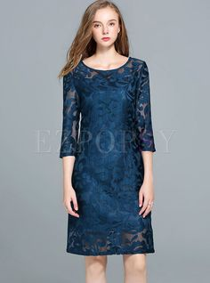 Shop for high quality Lace Hollow Out Three Quarters Sleeve Skater Dress online at cheap prices and discover fashion at Ezpopsy.com