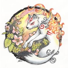 Okami fanart that I did for ACen'08, was also made into individual bookmarks. How I love that game <3 Okami © Capcom