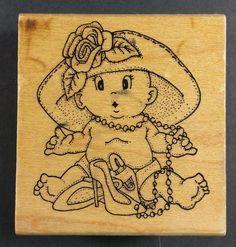 Art Impressions H-940 LITTLE DRESS-UP GIRL Pearls High Heels Baby Hat Flower #ArtImpressions #Background