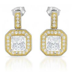 Earrings With 4.10ctw Cubic zirconia Crafted in 14K/925 Gold plated Silver Length 17mm Unknown. $98.00