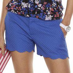 ELLE™ Textured Scallop-Hem Shorts - Women's