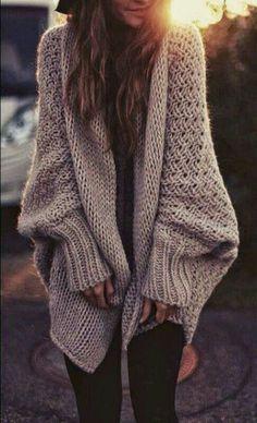 #street #style / oversized knit cardigan