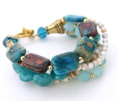 Carribean+Blue+Multiple+Strand+Statement+by+InspiredTheory+on+Etsy,+$45.00