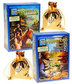 Carcassonne Expansions 1  2 Bundled Set _ No 1 Inns  Cathedrals No 2 Traders  Builders _ Bonus 2 Gold Metallic Cloth Drawstring Storages Pouches _ Bundled Items * Learn more by visiting the image link.