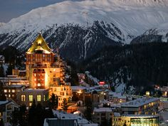 St. Moritz, Switzerland. The oldest resort and it gets 300 days of sun a year, WITH snow. Oh, Swiss Alps, how I love thee....