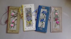 Four Hand Embroidered Greeting Cards. Handmade Paper Cards Kit. Textile Cards with Ribbon Embroidery.  Embroidered Floral Cards Set. by QltDesign on Etsy
