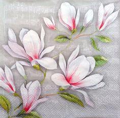 white design vintage look 4 Single paper decoupage napkins 404 Magnolias