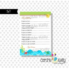 INSTANT DOWNLOAD Printable 5x7 Baby Shower Wishes by CardMeKelly, $5.00