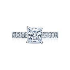 "Tacori ""Clean Crescent"" Asscher-cut Diamond Accented Engagement Ring Setting"