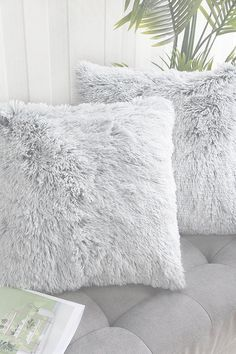 Uhomy 2 Packs Home Decorative Luxury Series Super Soft Faux Fur Throw Pillow Cover Cushion Case for Sofa or Bed Gray Ombre 18x18 Inch 45x45 cm Throw Pillow Covers, Throw Pillows, Grey Ombre, Aesthetic Bedroom, Grey Bedding, Faux Fur, Cushions, Sofa, Luxury