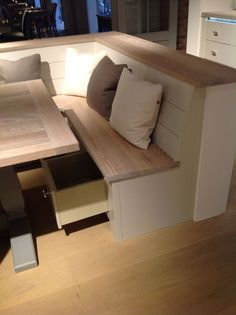 awesome kitchen bench with storage i bet the husband could build