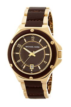Women's Steel and Genuine Leather Watch by MICHAEL Michael Kors on @nordstrom_rack