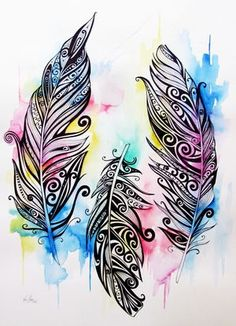 Koru Feathers Art Print by Fiona Clarke - X-Small Feather Drawing, Feather Art, Mandala Drawing, Feather Tattoos, Mandala Art, Feather Sketch, Tattoo Indien, Mandala Feather, Gothic Fantasy Art