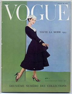 Marie in dress by Jacques Fath, French Vogue cover by Henry Clarke, April, 1955 Vogue Magazine Covers, Fashion Magazine Cover, Fashion Cover, Vogue Vintage, Vintage Vogue Covers, Fifties Fashion, Retro Fashion, Fashion Fashion, High Fashion
