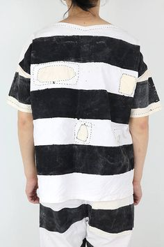 Antique linen prisoner smock shirt with patchwork/hand-painted