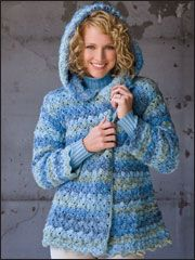 Denim Marble Hooded Jacket Crochet Pattern Download from Anniescatalog.com -- Worked from the top down, this classic peacoat with button-on hood features a crossed-stitch shell pattern that creates a decorative edging.