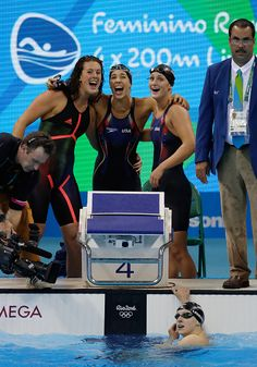 #RIO2016 Team United States celebrate winning the Women's 4 x 200m Freestyle Relay Final on Day 5 of the Rio 2016 Olympic Games at the Olympic Aquatics...