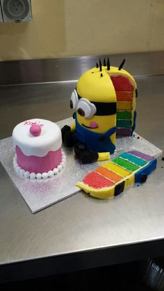 Rainbow Minion Cake- I does matter how old you are minions are amazing, 30th birthday cake idea .