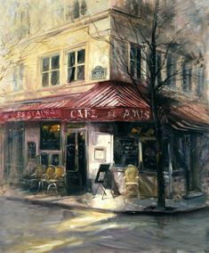 I imagine myself on this street corner. Down the street a street musician is playing an accordion. Ah, Paris!
