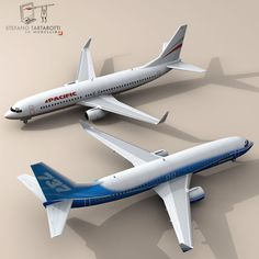 B737-800 3D Model- Two texture sets. One with company colors and one with generic airline colors.  Made in cinema4d R12. .fbx format is good for importing in 3dstudio max and Maya.   Polygons 8731  Vertices 10591  If you like the model please rate it. - #3D_model #Cargo Passenger,#Jet