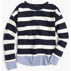J.Crew Striped long-sleeve T-shirt with shirttail hem ($55) ❤ liked on Polyvore featuring tops, t-shirts, sweaters, shirts, long sleeves, striped long sleeve shirt, long sleeve cotton t shirts, loose fit t shirts, long sleeve layering tee and long sleeve cotton shirt