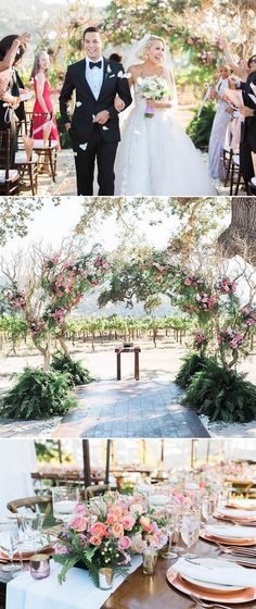"Pitch Perfect stars Skylar Astin and Anna Campbell's romantic outdoor ceremony in California! The bride shone in a custom Reem Acra wedding gown with a lined bodice from ""Claudia"" and voluminous skirt from ""Alia"" as she partied with guests including Rebel Wilson and Elizabeth Banks. // Celebrity wedding inspiration {Facebook and Instagram: The Wedding Scoop}"