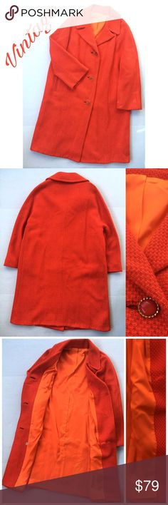 """Vintage Red-Orange Wool Cocoon Coat Amazing Vintage Red-Orange Wool Cocoon Coat. Gold-tone and red buttons, fully lined. No size tag, but approximate XL. See Measurements-- Approximate Measurements (flat):  24"""" armpit to armpit, 24"""" across waist, 38.5"""" long In excellent pre-owned condition. 🎀Search my closet for your size 🎀BUNDLE and SAVE! 🎀REASONABLE offers WELCOME 🎀NO TRADES NO HOLDS 🎀Thank you for stopping by!❤️ Vintage Jackets & Coats"""
