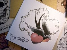 Swallow and silver cloud tattoo alternative handmade blank card. love the designs by vickilicious designs
