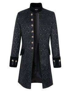 Mens Velvet Goth Steampunk Victorian Frock Coat (XL, Brocade)