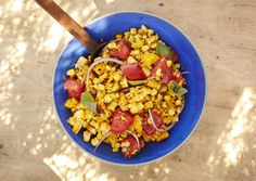 Charred Corn Salad with Basil and Tomatoes by bonappetit: Mae it ahead and save room on the grill by cutting the kernels from the cobs and charring with 1 Tbsp. olive oil in a cast-iron skillet on the stove. #Salad #Corn #Tomatoes