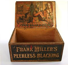 Old advertising box - Uncle Sam - Frank Miller's Peerless Blacking Vintage Crates, Old Crates, Vintage Tins, Vintage Decor, Old Wooden Boxes, Old Boxes, Dovetail Box, Old Baskets, Old Signs