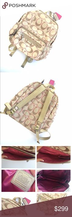 Coach jacquard Cs print backpack pink/brown Gently used. But I'm no longer in school so I do not need this. A little dirty could use a cleaning. Holds several books and notebooks Etc. multiple pockets. Retails for $398.  Approx size 13x16   •no trades•no offsite transactions•no low balls•offers considered through the offer feature only!•save when you bundle• Coach Bags Backpacks