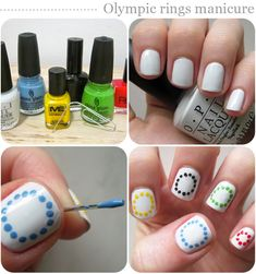 Nail art designs: Olympic rings manicure - something to do during the Opening Ceremony?