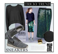 Sequin Style by clovers-mind on Polyvore featuring polyvore, fashion, style, T By Alexander Wang, Perrin and NIKE