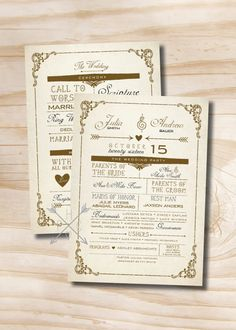VINTAGE POSTER Style Rustic Wedding Program  by PaperHeartCompany, $50.00