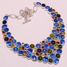 925 Sterling silver bt+citrine+peridot+amethyst+garnet necklace f139 136gm #Handmade #Necklace