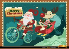 """Funny Christmas background showing Santa Claus in a flying bicycle above some town, he is holding a sign with """"Merry Christmas"""" written and pulling a sleigh with a reindeer sitting comfortably with a pipe in hand. It's perfect to give a cool style to any Christmas promo or message. High quality JPG included. Under Commons 4.0. Attribution License."""