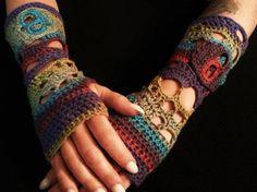 Sugar Skull Gloves Crazy Free Form Wrist Warmers by fosforosstitch