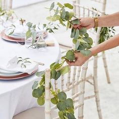 leaf garland Bring the outside in with our artificial eucalyptus garland. The green wedding garland is the perfect addition to your wedding when creating a natural, beautiful gorgeous de Flower Garland Wedding, Rose Garland, Greenery Garland, Light Garland, Leaf Garland, Flower Garlands, Wedding Flowers, Green Wedding, Floral Garland