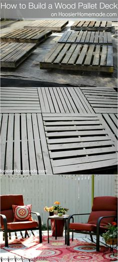 How to Build a Wood Pallet Deck : Outdoor Space | Details on HoosierHomemade.com #BHGRefresh - this deck is incredible!