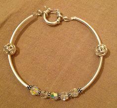 silver sterling bracelet, swarovski crystals!!