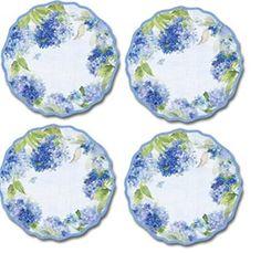 4 Hydrangea Blossom Melamine Dinner Plates Keller Charles //.amazon.com/dp/B00KBYUP96/refu003dcm_sw_r_pi_dp_x_vlV6ybAKEAF4M  sc 1 st  Pinterest & Melamine Dinnerware Plates Plastic Sets of 4 Dinner Plates 10
