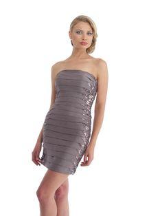 Strapless  Chiffon Sheath Column Cocktail Dress